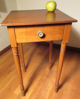 American c1830 Sheraton Tiger Maple One Drawer Stand Table Turned Legs Ball Feet