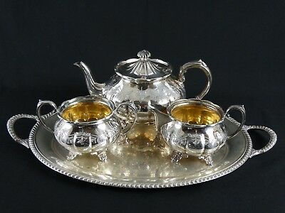 RARE Antique Victorian English Sheffield Plate Silver Melon Shaped Etched Teaset