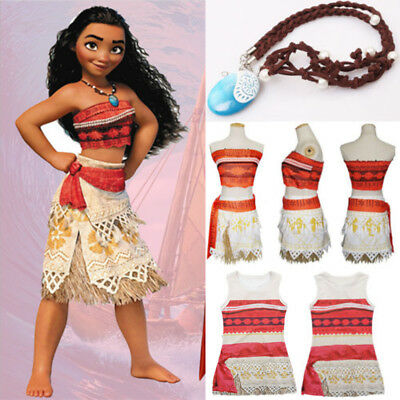Kids Girls Moana Princess Cosplay Costume Fancy Dress Party Outfit Necklace