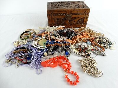 Old Chinese Carved Jewellery Box full of Necklaces Bracelets inc Porcelain & Tim