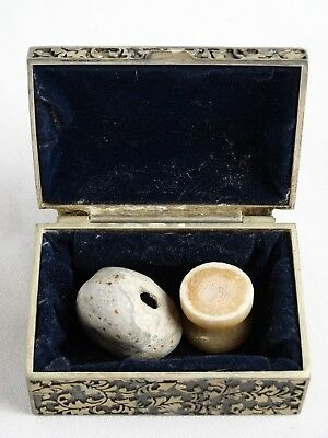 2 RARE antique Beads 1 Bo ne the other ancient made from rock - origins unknown
