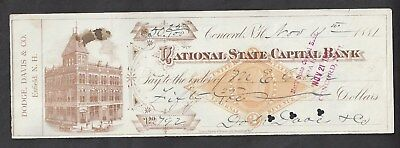 1881 Concord New Hampshire Bank Check RN-G1