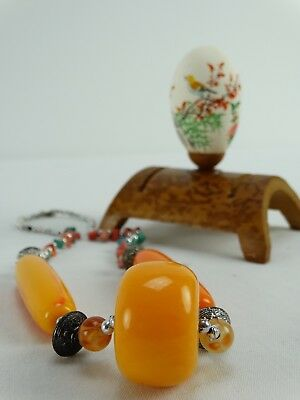 Vintage Chinese hand Painted Egg on Bamboo Stand & Mastic Ambroid necklace China
