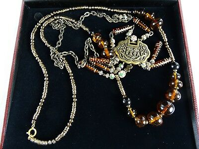 2 Chinese Womens Necklace Old Style with Cloisonne Balls Ambroid Beads Brass Pen