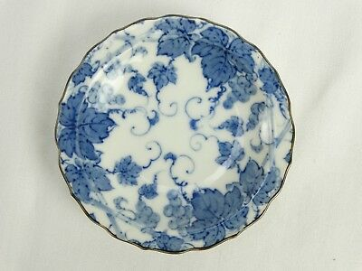 Antique Japanese meiji period Kutani Blue & White Dish With Pie crust Rim 19thC