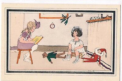 CHILDREN POSTCARD - ILLUSTRATED BY D.S. d.M. - TWO LITTLE GIRLS, c1910