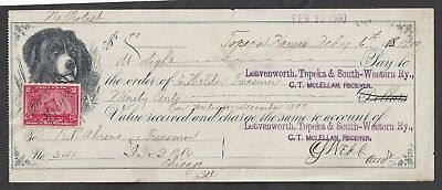 1900 Leavenworth Railroad Bank Draft