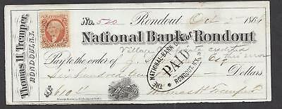 1866 Rondout New York Bank Check