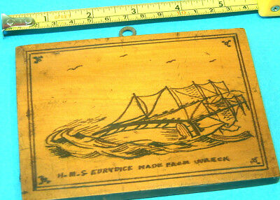 Picture Plaque made of Wood from HMS EURYDICE shipwreck 1878 Isle of Wight