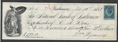"1882 Baltimore Maryland Bank Check ""Liberty"""