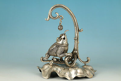 Fine Copper Plating Silver Casting Spittor Look Ball Stand Lotus Statue Ornament
