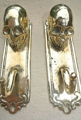 """2 SKULL HOOKS small polished BRASS old vintage style antique 6 """" long"""