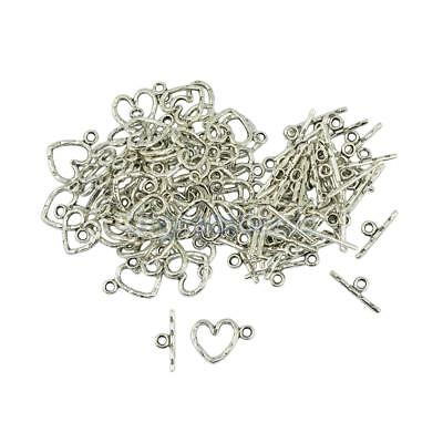 50 Sets Daisy Flower Heart OT Toggle Clasps Connector DIY Jewelry Findings