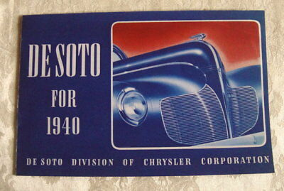"Original 1940 ""DeSoto"" Catalog or Sales Brochure: Div Of CHRYSLER; Automotive"