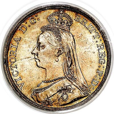 1890 Queen Victoria Great Britain Silver Crown Coin PCGS MS63