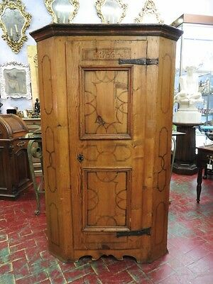 Wonderful Ancient Small Closet Cabinet Tyrolean Lacquered Dated 1700