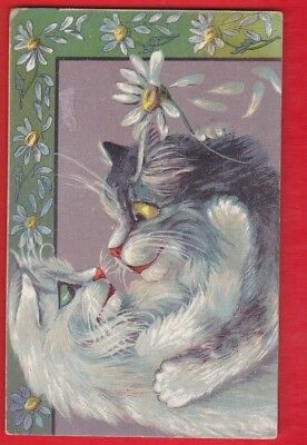 Cat postcard, Maurice Boulanger. Cats in embrace