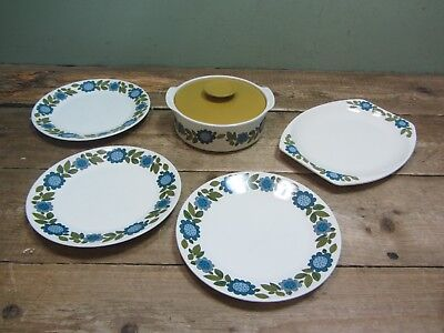 J&G Meakin Floral Topic RETRO Pattern Tableware Set - 4 Plates + Casserole Dish