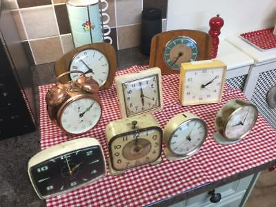 9 Vintage clocks sold as found for spare ore repairs free uk p&p