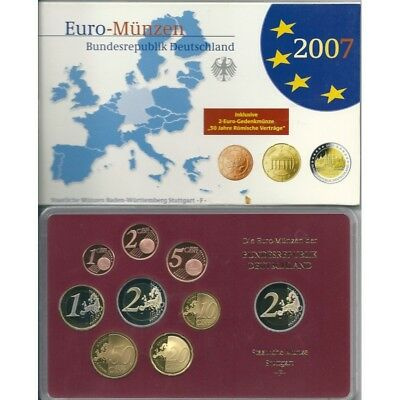 2007 Germany Divisional Proof Of 5 Ticks 9 Coins Euro Mf8795