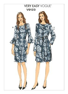 Very Easy Vogue SEWING PATTERN V9123 Misses Jacket,Belt,Dress 6-14 Or 14-22