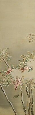 #8933 Japanese Hanging Scroll: Nandina in the Snow