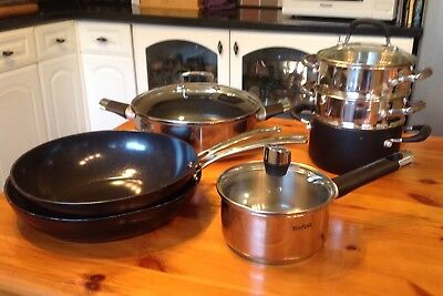 Tefal Emotion + John Lewis  Five  Pans + Two Steamers + Three Lids All Induction