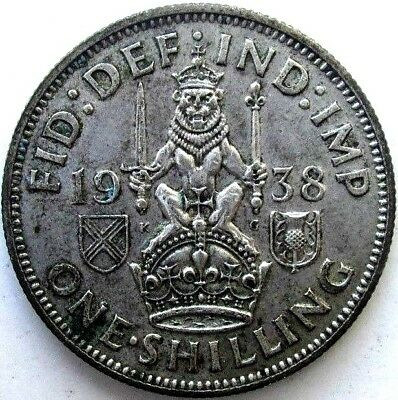 Great Britain Uk Coins, One Shilling 1938, Scottish, George Vi, Silver 0.500