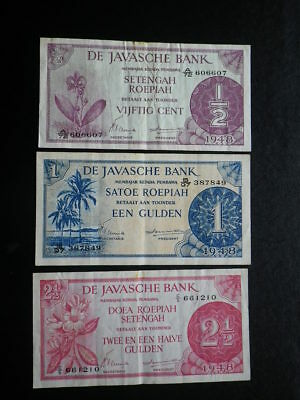 Netherlands Indies 1948 De Javasche Bank 1/2, 1 & 2 1/2 Gulden Banknotes x 3