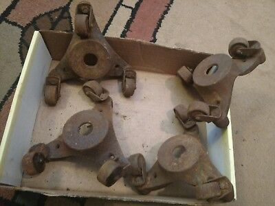 Vintage Cast Iron Casters - Each Has 3 Wheels & Swivels -Lot of 4-Unusual !!