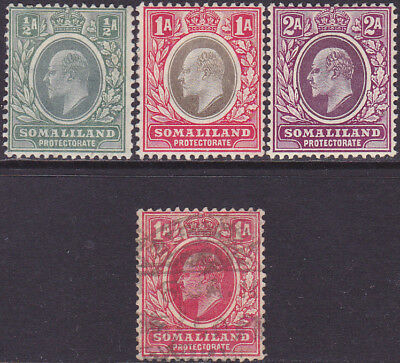 British Somaliland KEVII 1905 & 1909 Definitive 1/2a-2a MH & Used Stamps