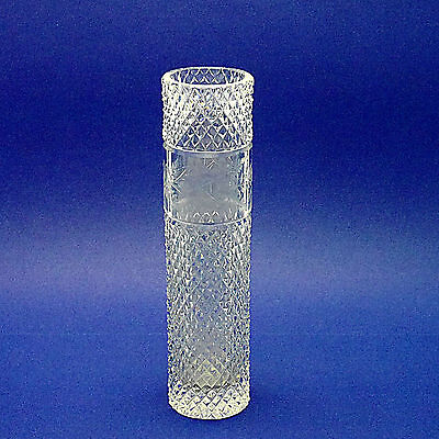 "Attractive Tall Cylindrical Floral Etched Crystal Glass Vase - 30.5cm/12"" High"