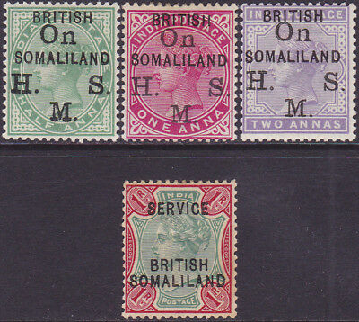 British Somaliland QV 1903 Overprinted Official 1/2a-1r MH Stamps SGO1-SGO9f