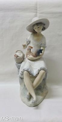 Vintage Nao By Lladro Figurine Young Girl Feeding Chicken Playing With Rooster