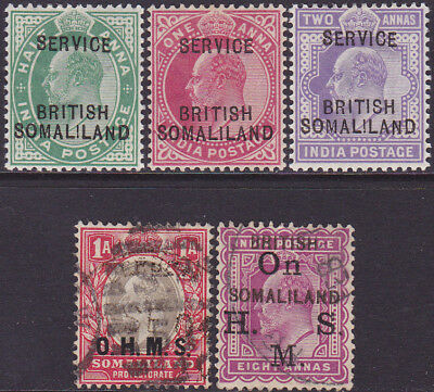 British Somaliland KEVII 1903-05 O'prtd Official 1/2a-2a MH & Used Stamps + 8a??