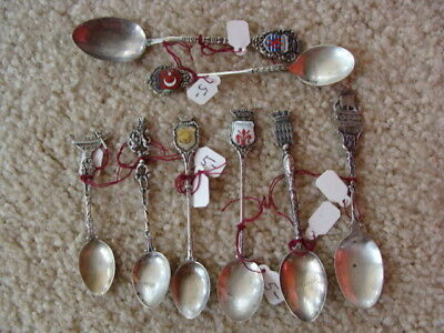 LOT OF COLLECTOR SPOONS MOST MARKED 800  TOTAL WEIGHT 59g