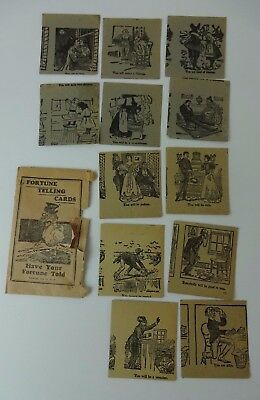 Antique VTG 1920s? FORTUNE TELLING CARDS - 12 Card Tarot Style Deck w/ Envelope