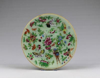 Fine Antique 19thC Chinese Qing Tongzhi Seal Famille Rose Canton Porcelain Dish