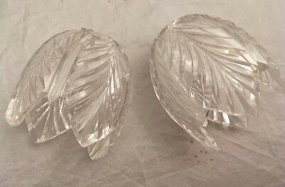 Pair Of Old & Unusual Little Cut Glass Crystal Lamp Or Light Shades