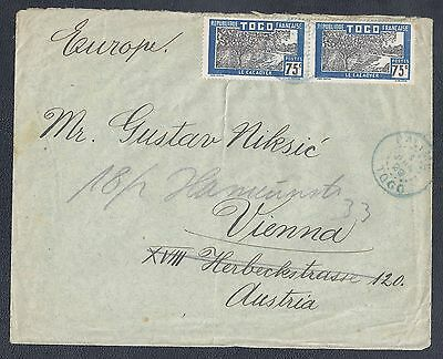 1929 Togo Cover - Palime to Austria - Scott #235 pair