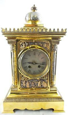 Spectacular antique French Archilles Brocot 19th c brass & silvered mantle clock