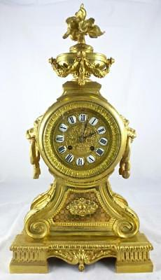 Beautiful antique French 19th c gilt bronze 8 day bell strike mantle clock