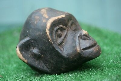 SUPERB 19thC WOODEN CARVED, TRIBAL ART, MONKEY HEAD OF AFRICAN ORIGIN c1890s