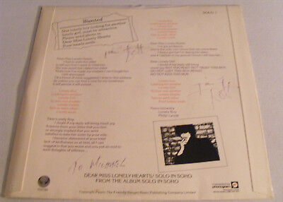 """PHIL LYNOTT Dear Miss Lonely Hearts Signed 7"""" Single Cover - 2 signatures"""