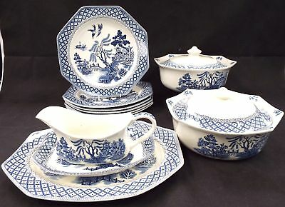J & G MEAKIN Ironstone 11 Pieces Willow Dinner Set Made In England - C87