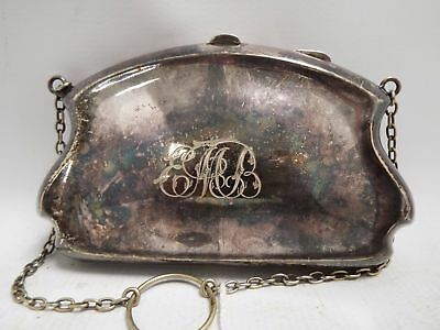 Vintage SILVER PLATED PURSE On Chain 14cm x 9cm APPROX  - S20