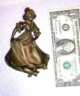 ART DECO Vintage BRASS / BRONZE VICTORIAN LADY ASH TRAY or  CANDY DISH,With CAT