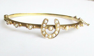 Old antique Victorian 9ct gold pearl bangle bracelet