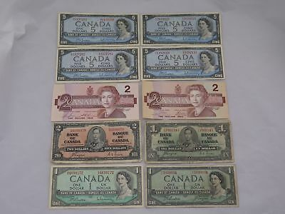 Lot of 10 Canada Banknotes ($29.00 Face Value)