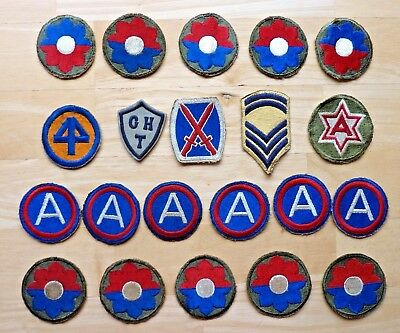 Vintage Lot of WWII / Korean War Era Military Patches - 21 Pieces